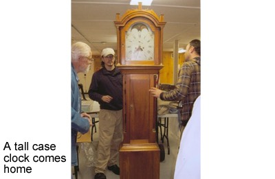A tall case clock comes home